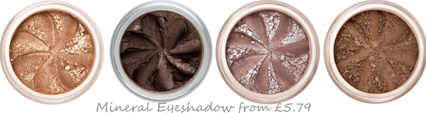 Gorgeous mineral eye shadows in shades of brown and bronze