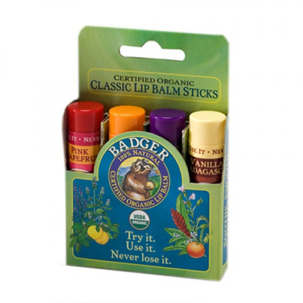 Badger Classic Lip Balm Sticks - Green
