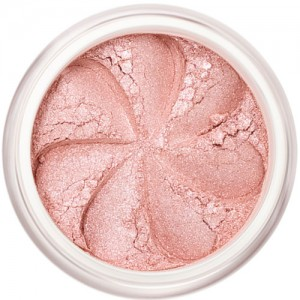 Pale pink shimmer in a natural loose mineral powder formulation.
