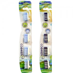 Yaweco Nylon Bristle Toothbrush Heads with soft or medium bristles