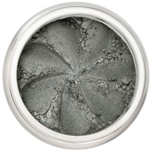 Demi-matte grey-green in a natural loose mineral powder formulation