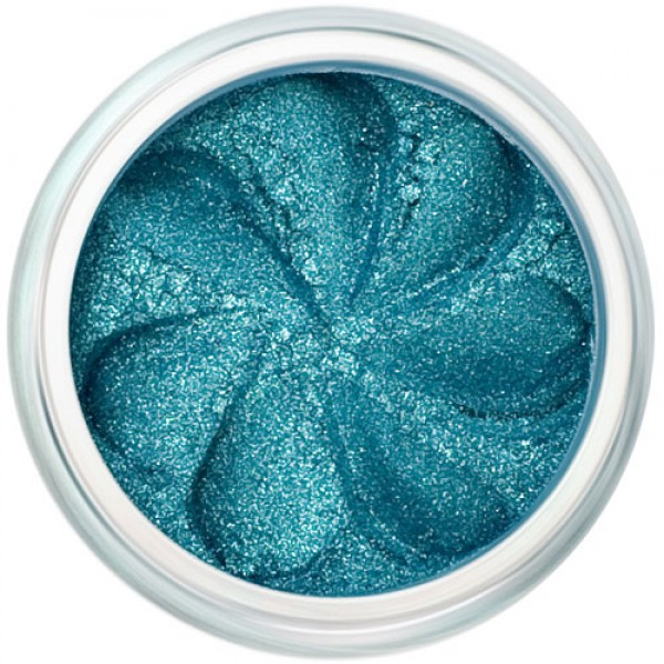 Aqua green sparkle in a natural loose mineral powder formulation.