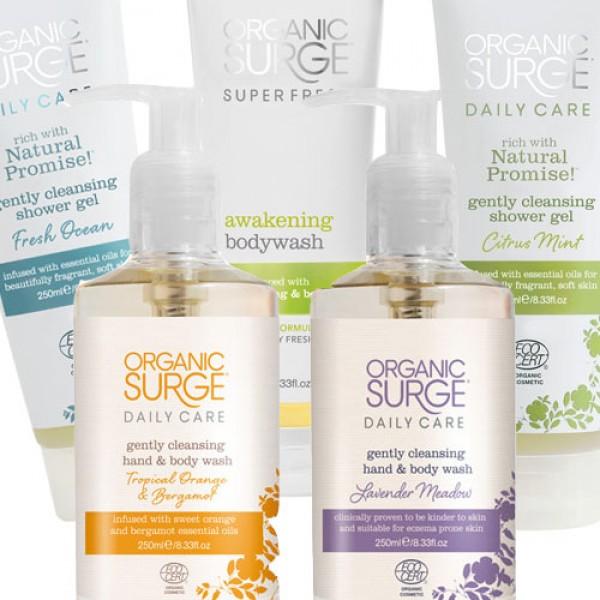 Organic Surge Shower Hamper Contents