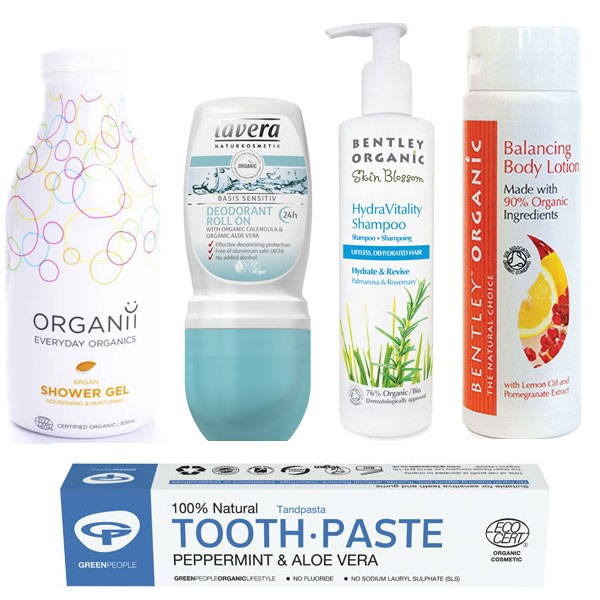 5 items including: Toothpaste, Deodorant, Shower Gel, Shampoo, Body Lotion,
