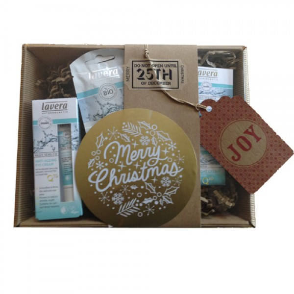 Lavera Q10 Skincare Set - wrapped as a Christmas Hamper