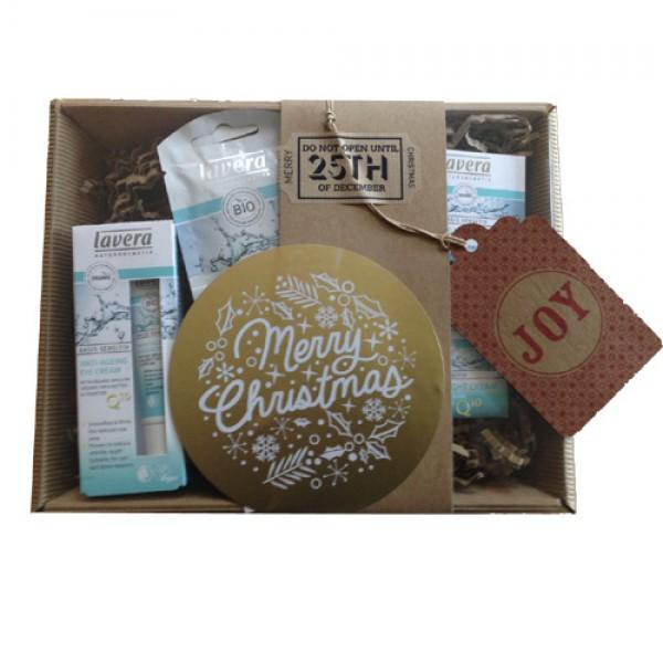 Lavera Q10 Skincare Set - wrapped as a Christmas Hamper