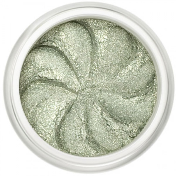 Shimmer Pale Green in a natural loose mineral powder formulation.