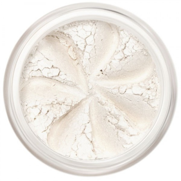 Shimmer, soft white in a natural loose mineral powder formulation.