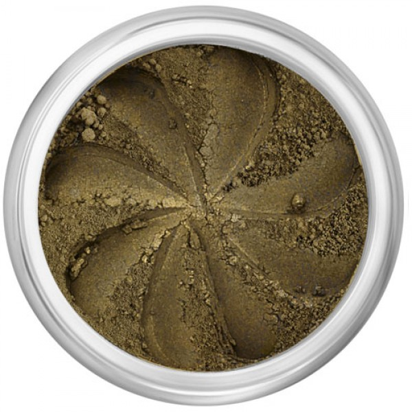 Matte dark olive brown in a natural loose mineral powder formulation.