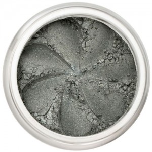 Demi-matte grey-green in a natural loose mineral powder formulation
