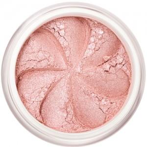 Pale pink shimmer in a natural loose mineral powder formulation.
