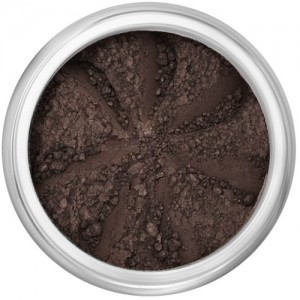 Matte darkest brown in a natural loose mineral powder formulation.