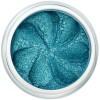 Aqua green sparkle in a natural loose mineral powder formulation.