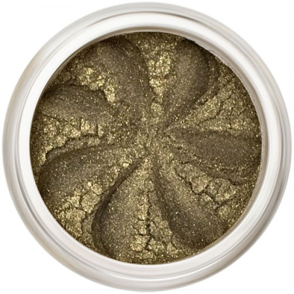 Deep khaki shimmer with golden undertones in a natural loose mineral powder formulation.