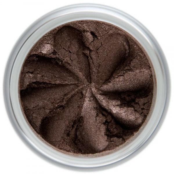 Chocolate brown shimmer in a natural loose mineral powder formulation.