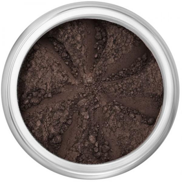 Matte darkest brown in a natural loose mineral powder formulation.