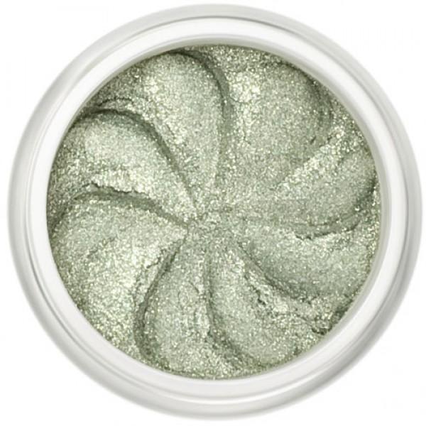 Shimmer Pale Green in a natural loose mineral powder formulation.