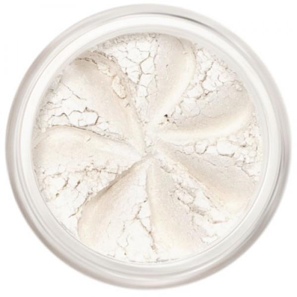 Shimmer, soft white in a natural loose mineral powder formulation.