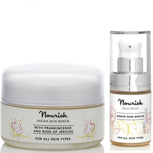 Nourish Argan Skin Renew Moisturiser & Skin Rescue Facial Serum